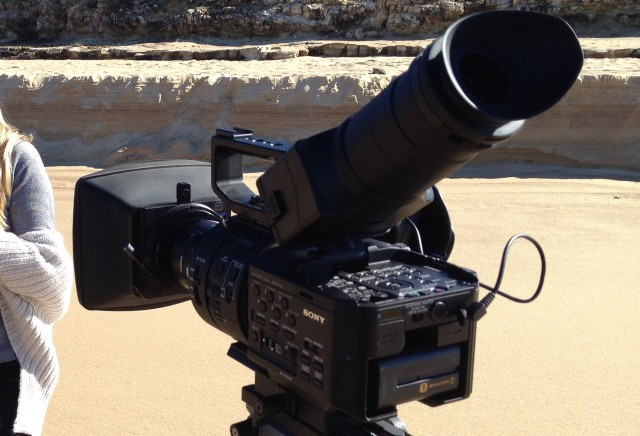 FS700 with Viewfinder Attachment, Metabones Adaptor, Canon 50mm and Arri Mattebox. From Photo by Martin McGrevy.