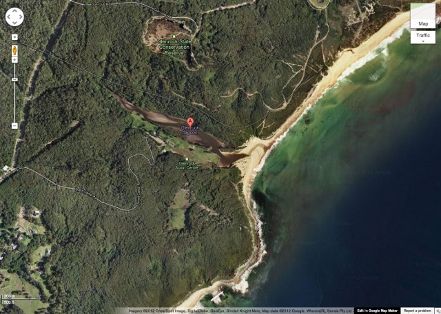 The Google Maps image of Glenrock Lagoon