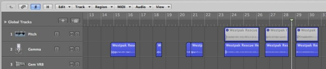 The VO Tracks showing the Pitch Correction Track and Bounced Regions back below on the Main Gemma Track.