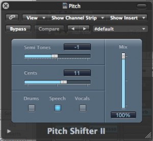 Pitch Shifter II window showing settings.