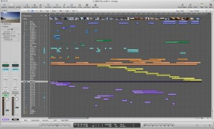 The Full 59 Channel Mix in the Arrange Window
