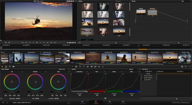 DaVinci Resolve's Color window.