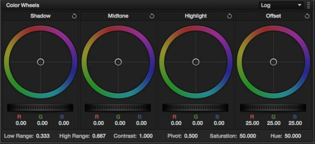 Resolve 9's new Log Mode Color Wheels