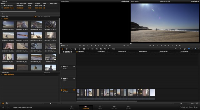 The Conform window in DaVinci Resolve 9
