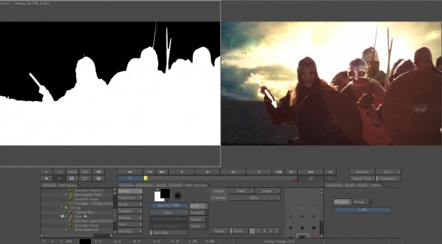 Screen grab from Combustion of a sky replacement and the Alpha channel matte.