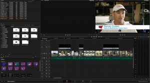 The Resolve 10 Edit tab with graphics on track 2.