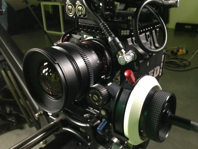 Samyang 24mm Cine lens on Red Epic with follow focus.